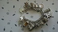 Beautiful vintage silver charm bracelet, Victorian charms 110 grams