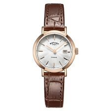 Rotary LS05304-02 Ladies Timepieces Windsor Rose Gold Plated Brown Leather Strap