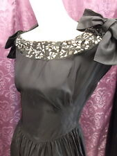 "30s 40s Black Rayon Taffeta & Heavy Lace ""Miss Kitty"" Vict.Style Gown sz S"