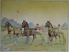 """""""COURSE DE CHEVAUX AU TROT ATTELE"""" Affiche entoilée Litho L. COULET 82x63cm"""