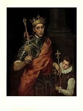 "1950 Vintage EL GRECO ""ST. LOUIS, KING OF FRANCE"" GREAT COLOR offset Lithograph"