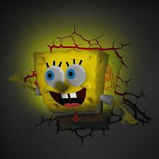 SPONGEBOB SQUAREPANTS 3D LED DECO WALL LIGHT + CRACK adesivi nuovi