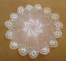 Vintage Hand Crocheted Round Doily, Cotton, Pinwheel, Ivory, Scalloped Edge