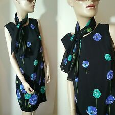 Liz Claiborne 100% Silk Shift Dress & Scarf Floral Black Blue Poppies 10 12