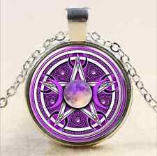 purple wicca triple moon Glass Cabochon Tibet silver pendant chain necklace
