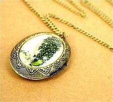 Vintage Art Deco style resin peacock locket necklace