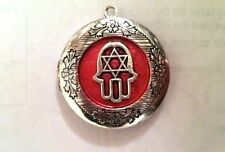 LOCKET PHOTO Hamsa Hand Star of David Pendant NECKLACE on Sterling Silver Chain