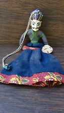 ANTIQUE SOUTH ASIA DOLL PUPPET WOOD HANDCARVED,PAINTED FACE SILK CLOTH W/BEADS#3
