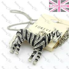 LARGE ZEBRA pendant LONG CHAIN NECKLACE black&silver CRYSTAL rhinestone ANIMAL