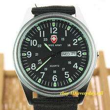 Swiss Army Vintage Fabric Canvas Band Men's Japan Quartz Wrist Watch Day/Date