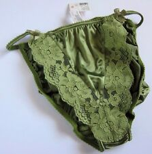 NWT Victoria's Secret VINTAGE Second Skin Satin Lace String Bikini Panties SMALL