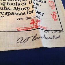 ART BUCHWALD - Signed Letter, Envelope and Irish Linen AUTOGRAPHED Tea Towel