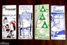 Four Vintage Lithuanian Christmas Cards with Envelopes All Different