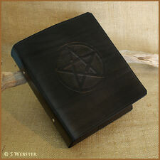 A5 BLACK LEATHER 2 RING BINDER, PENTAGRAM, FOLDER, BOS, free personalisation.