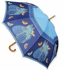 Laurel Burch Indigo Cats Blue Butterflies Stick Umbrella Auto Open New