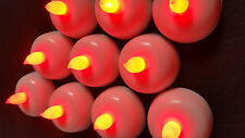 10 Tea light Battery Operated  RED DOME LED Candle Lamp Diya Flameless Light