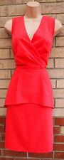LENA PINK TAILORED FORMAL WORK PEPLUM RUFFLE FRONT PENCIL TUBE BODYCON DRESS XL