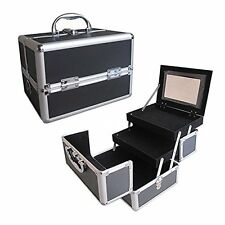 "Black 10"" Aluminum Makeup Artist Organizer 2 Extendable Trays Lock Key Mirror"