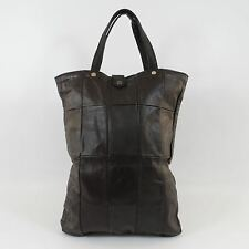 Vintage Black Leather Patchwork Shopper Tote Bag Purse Mod Biker