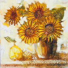 Sunflowers and Pear / Still life / Original Oil Painting by Hahonina 30x30cm