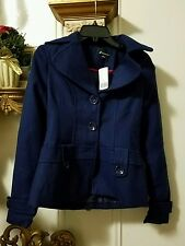 NWT FOREVER 21 Blue Outerwear Button Up Peacoat Coat, Size: S / P