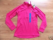 NWT Womens ADIDAS Active PINK Track Exercise ULT Pullover Jacket 1/4 Zip L