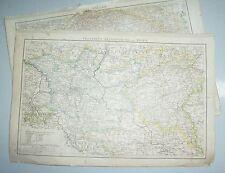 Kleines Lot Landkarten lithografiert koloriert um 1880 / 90 aus Atlas Atlant !
