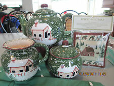 LITTLE CABIN IN THE WOODS TEA SET ~   TEAPOT WITH CREAM & SUGAR & SPICE MAT