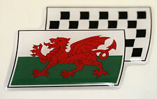 Wales Welsh Dragon Resin Domed Chequered Decal / Gel Sticker Car / Bike / Lorry