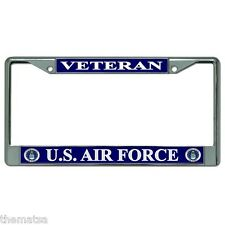 AIR FORCE VETERAN CHROME LICENSE PLATE FRAME MADE IN USA