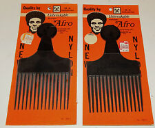 2 Vintage Nylon Black Afro Pick Comb M.A Industries Georgia USA