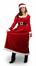 Red Christmas Miss Mrs Santa Claus Female Costume Gown Dress Office Home Party