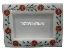 White Marble Photo Frame Real Hakik Inlay Mosaic Collectible Art Home Decor Gift