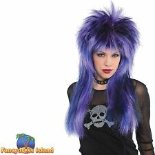 BIG PURPLE PUNK ROCKER ROCK STEADY 80'S WIG ladies womens fancy dress costume