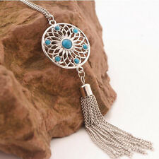 Bohemian Style Ladies Flower Tassel Long Chain Necklace Jewelry