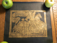 BRASS RUBBING The Knyght horseback Knight Canterbury Tales gold on black 1970's