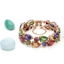 Hermosa 18k Rose Gold Amethyst Peridot Garnet Morganite Gemstone Bracelet 7""