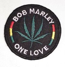 "(F48) BOB MARLEY ONE LOVE Rasta 3"" iron on patch Marijuana Leaf 420"