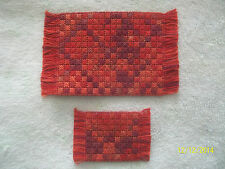 "2 Doll House Handmade Needlepoint Rug 3 1/8 "" x 5"" & 1 3/4"" x 1 3/4"" Flame"