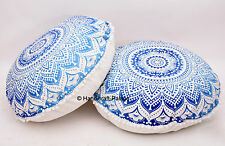 2 PC OMBRE MANDALA DECORATIVE FLOOR CUSHION PILLOW COVER Bohemian Indian Decor
