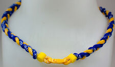 "NEW 20"" Custom Clasp Braided Sports Royal Blue Yellow Tornado Necklace Twisted"