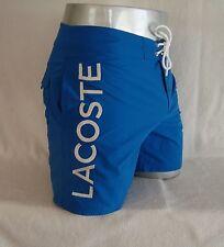 LACOSTE Blue Poplin Lettering Nylon Men's Swim Trunks Board Shorts NEW Size L