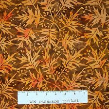 Bali Batik Fabric - Orange Fall Autumn Leaves - Princess Mirah Quilt Cotton YARD