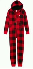 Victoria's Secret PINK Hooded Sherpa Long Jane Onesie Red Pepper Plaid sz L NEW