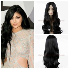 Best Selling Womens Sexy Long Wave Europe Girl's Black Wigs Hear Resistant Hair