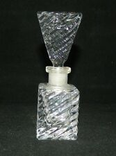 Vintage Cut Leaded Glass Rippled With Inverted Pyramid Stopper Perfume Bottle