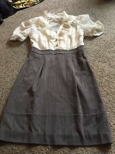 Nice women's size 10 Max and Cleo brand gray ivory ruffled dress outfit
