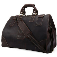 Mens Vintage Genuine Soft Leather Large Luggage Duffle Travel Overnight Gym Bag