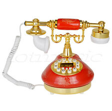 511 Red Retro Vintage Push Button Ceramic Antique Telephone Dial Desk Phone