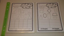 Two laminated 2-D and 3-D Shapes Graphing worksheets. 1-5 grade geometry math le